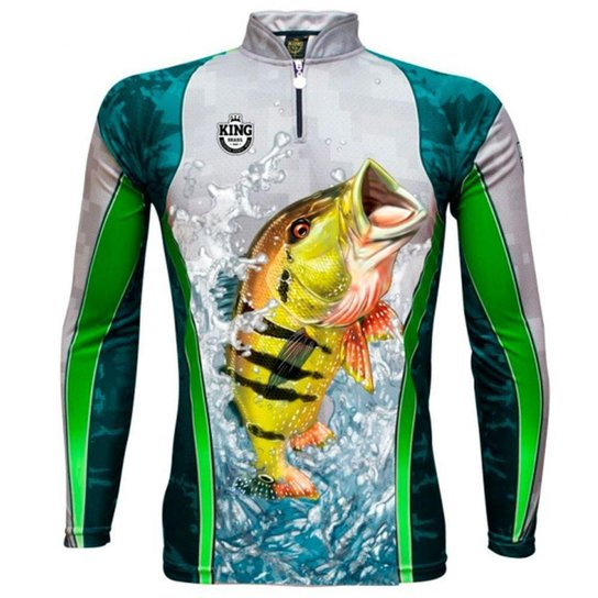 Camiseta De Pesca King Brasil Sublimada Manga Longa Masculina - Verde