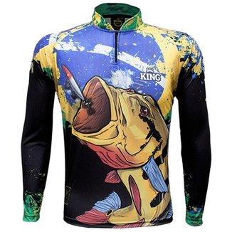Camiseta de Pesca King Brasil Tucunaré Proteção UV50+ Masculina
