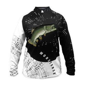 Camiseta De Pesca Masculina Monster 3x Traira New Fish 05 Proteção  Uv SSX Multicoisas