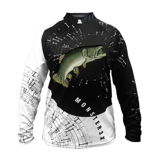 Camiseta De Pesca Masculina Monster 3x Traira New Fish 05 Proteção  Uv SSX Multicoisas - Branco