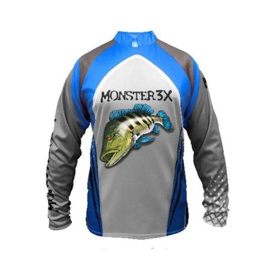 Camiseta De Pesca Monster 3x Tucunare New Fish 03 Proteção Solar Uv SSX Multicoisas - Cinza
