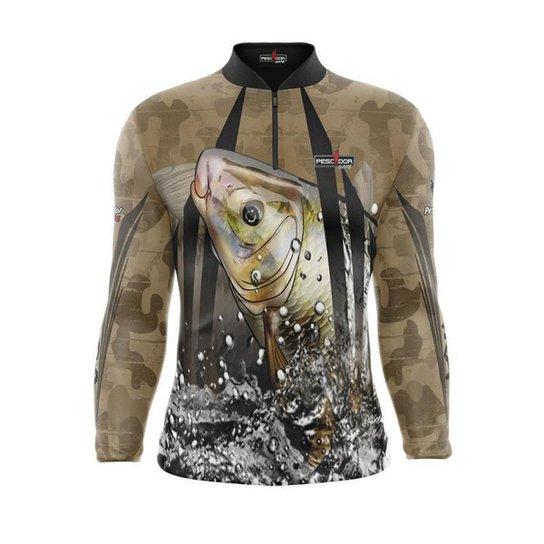 Camiseta de Pesca Pescador Fishing Manga Longa C19 Ref 11 - Preto