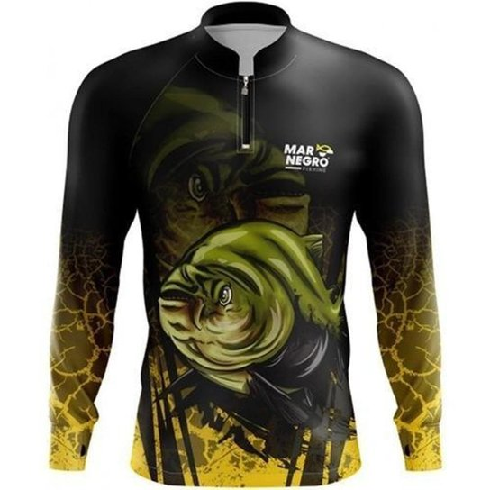 Camiseta De Pesca Proteção Uv Mar Negro Tambaqui SSX Multicoisas - Preto