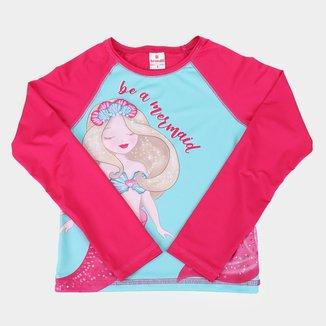 Camiseta de Praia Infantil Brandili Manga Longa Com Proteção UV 50+ Feminina