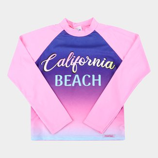 Camiseta de Praia Infantil Marlan Neon Manga Longa UV 50+ Feminina