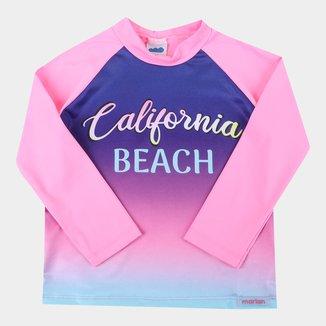 Camiseta de Praia Infantil Marlan Neon UV50+ Manga Longa Feminina