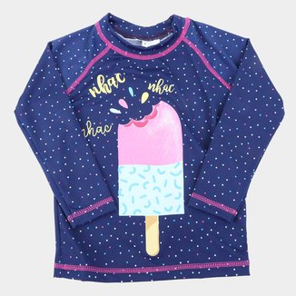 Camiseta de Praia Infantil Tip Top Com Proteção UV 50+ Sorvetes Manga Longa Feminina