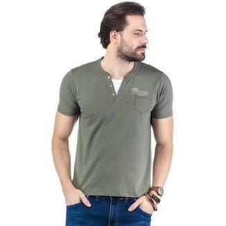 Camiseta Decote Henley Sobreposição Malhas Treze - AZUL MARINHO - M
