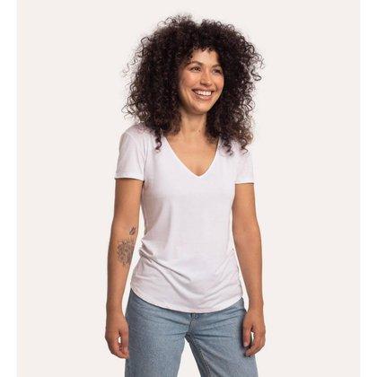 Camiseta decote v em modal branca
