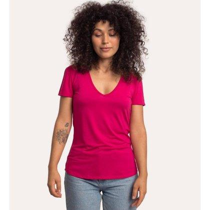Camiseta decote v em modal CORA BÁSICO Feminina