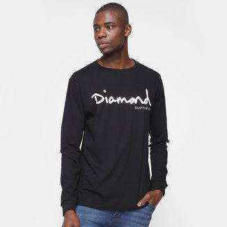 Camiseta Diamond Script Manga Longa Masculina