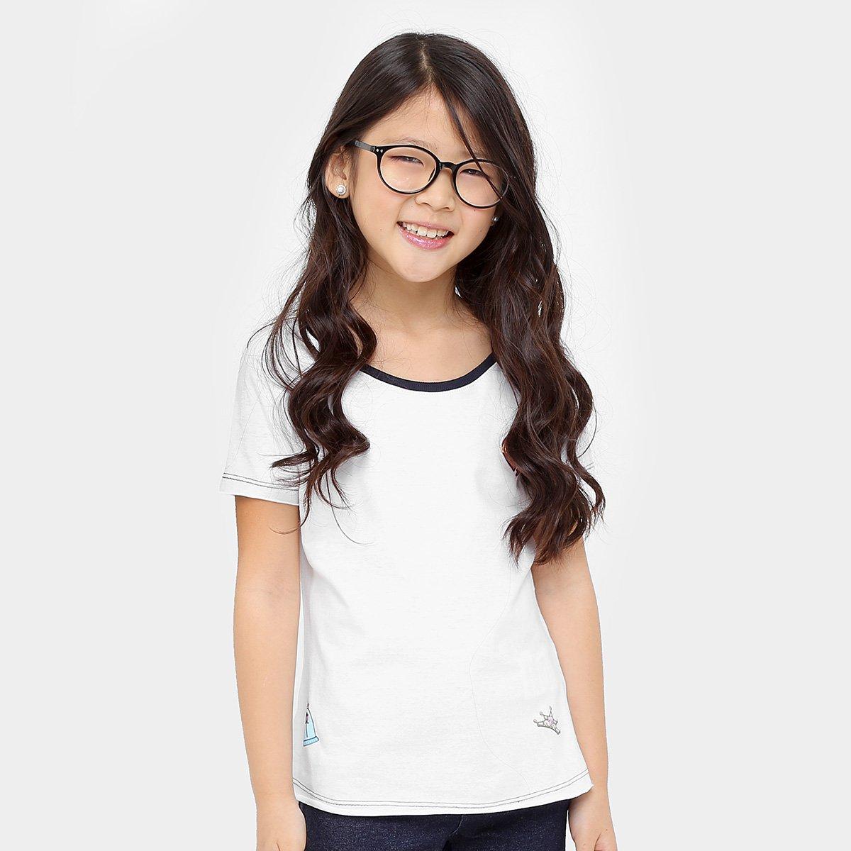 Branco Camiseta Botons Disney Bela Disney Camiseta Infantil xYzqUw7