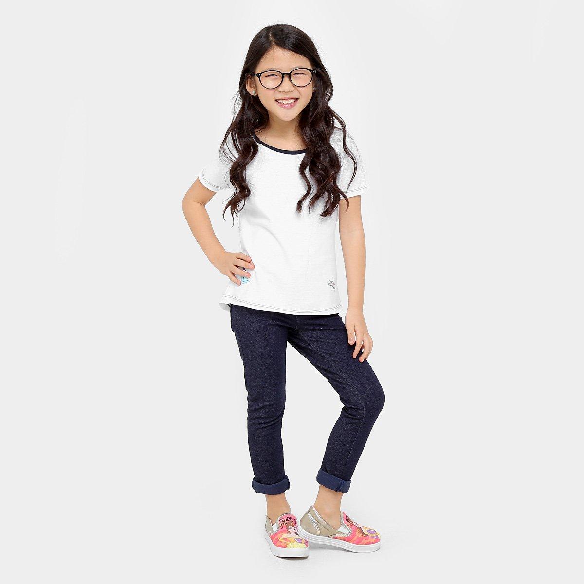 Branco Disney Botons Bela Camiseta Disney Bela Infantil Camiseta tOqw7x0