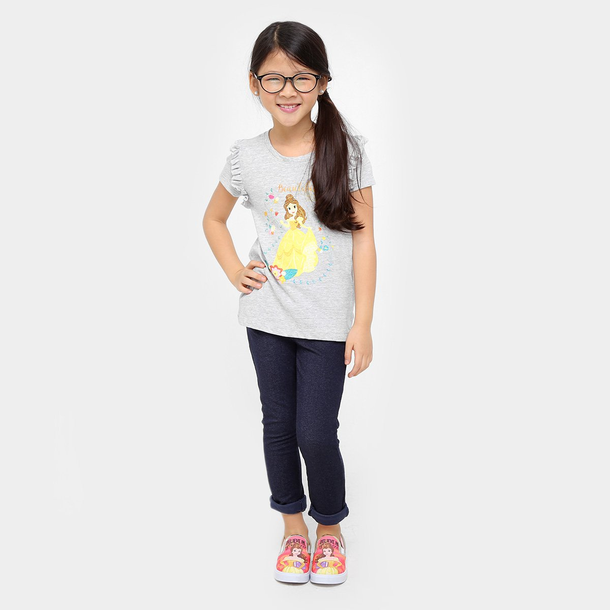 Camiseta Infantil Infantil Camiseta Bela Bela Mescla Camiseta Disney Disney Mescla Disney axOqwxY