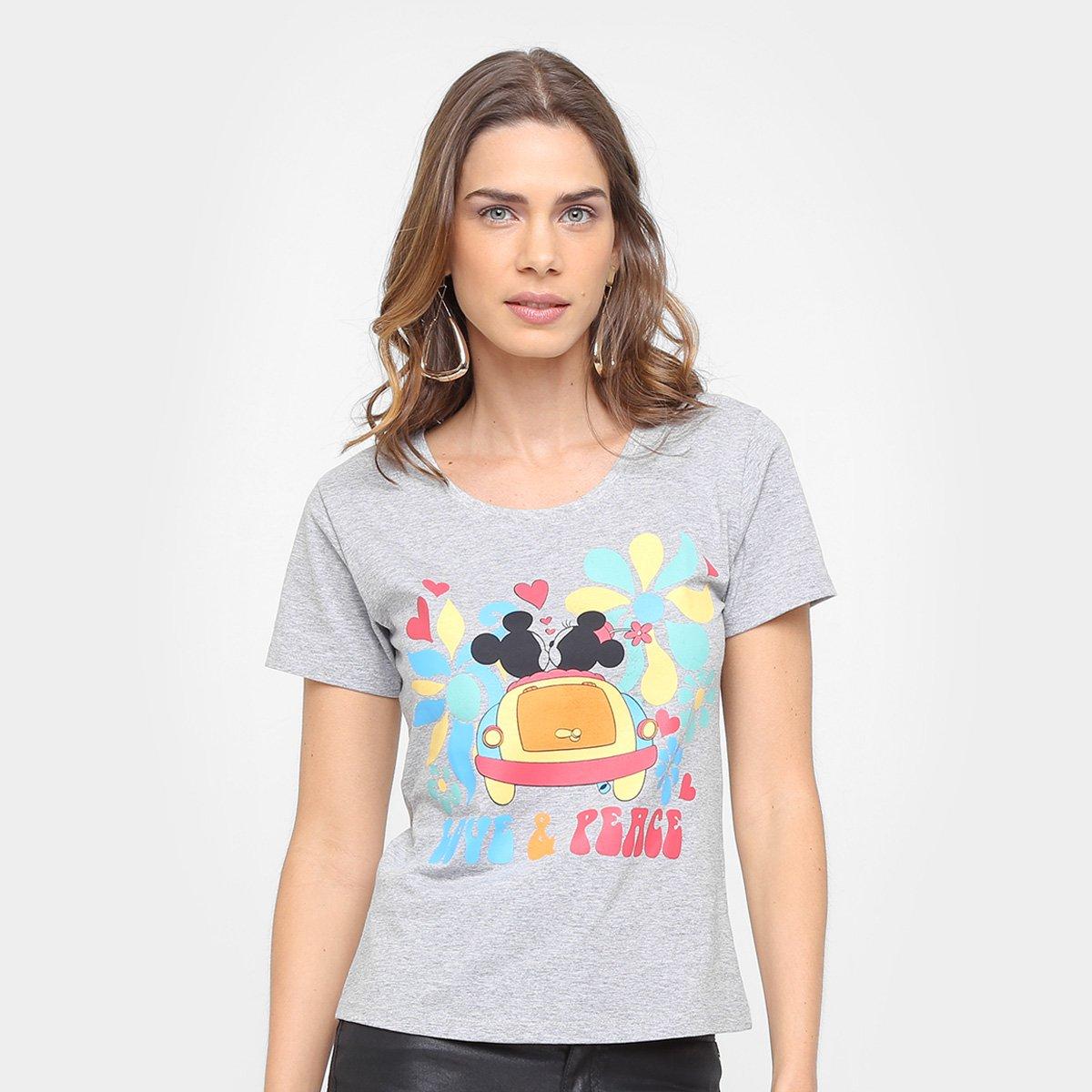 a09069e43 Camiseta Disney Mickey e Minnie Love   Peace Feminina - Compre Agora ...