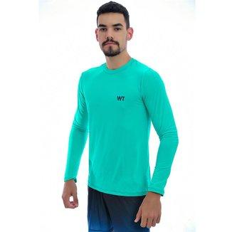 Camiseta Dry Fit  Manga Longa UV25+ - M - Verde