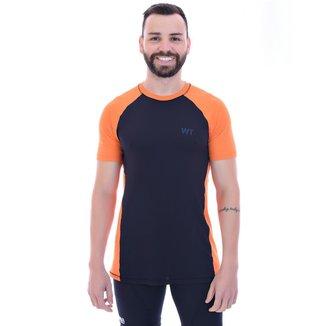 Camiseta Dry Fit Raglan Recorte Run UV25+ - G - Preto Rec Laranja