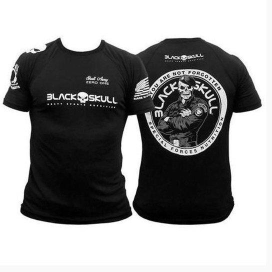 Camiseta Dry Fit Soldado Black Skull - Preto