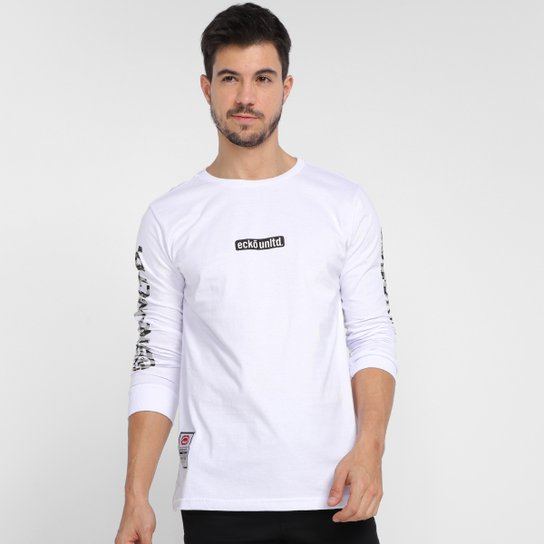 Camiseta Ecko Logo Camo Manga Longa Masculina - Branco