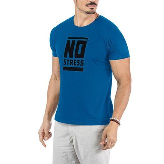 Camiseta Estampa Frontal Logo No Stress Azul