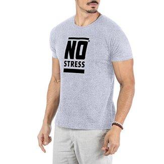 Camiseta Estampa Frontal Logo No Stress Cinza