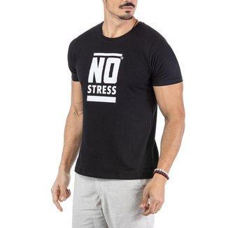 Camiseta Estampa Frontal Logo No Stress Preta