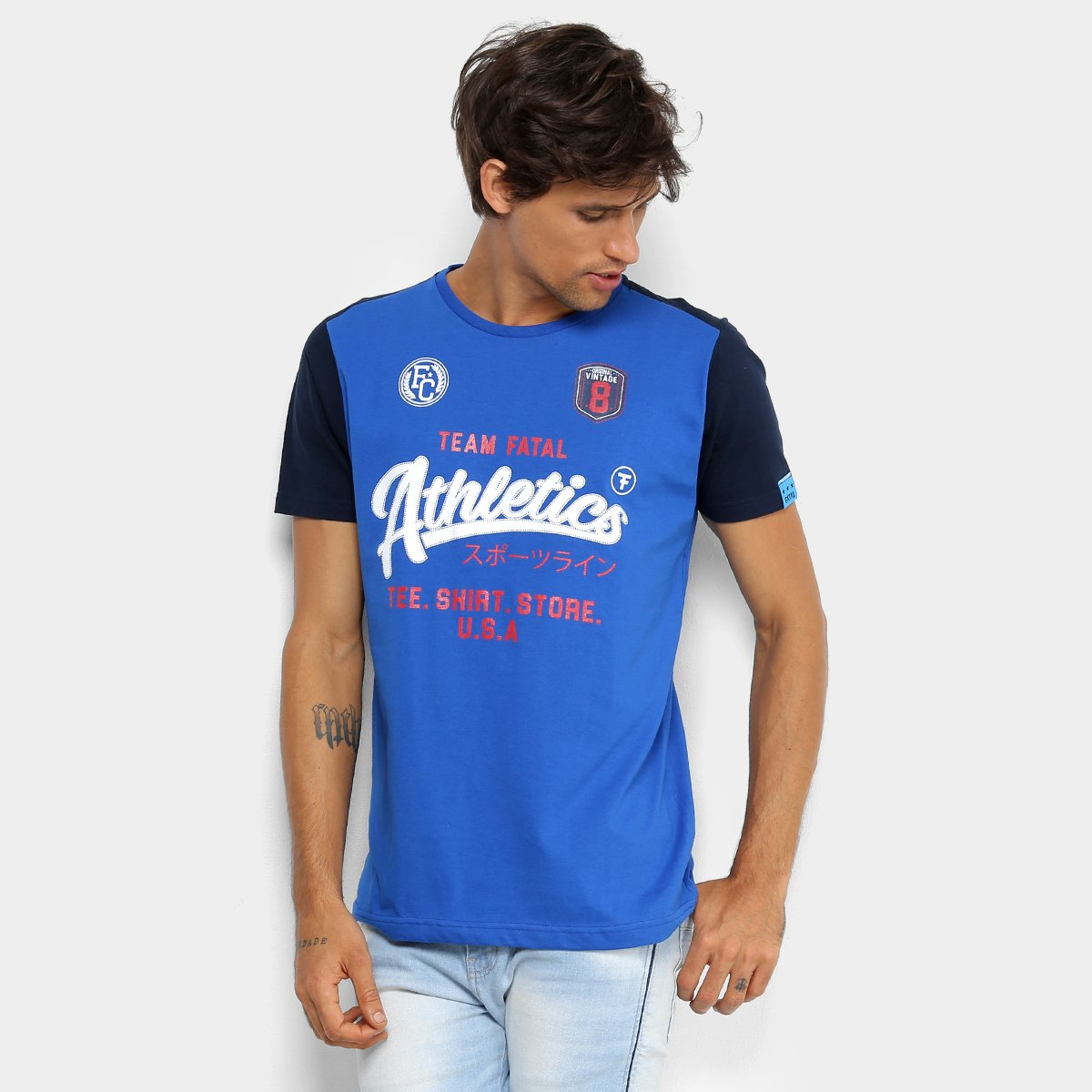 16a0462d222b1 Camiseta Estampada Fatal Manga Raglan Masculina - Azul Royal - Compre Agora