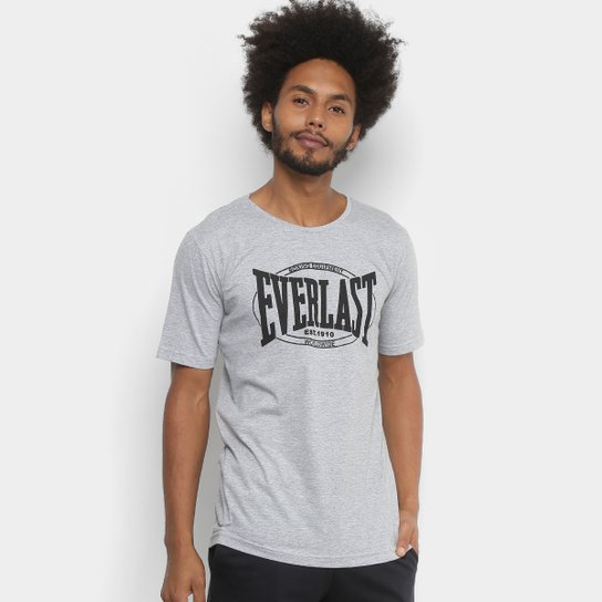 Camiseta Everlast Logo Worldwide Masculina - Cinza+Preto