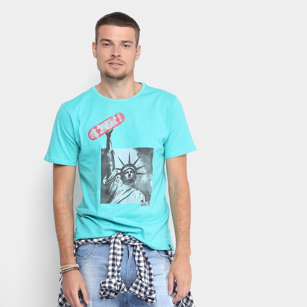 aeb02362e7742 Camiseta Fatal Estampada Liberdade Skate Masculina - Azul Turquesa - Compre  Agora