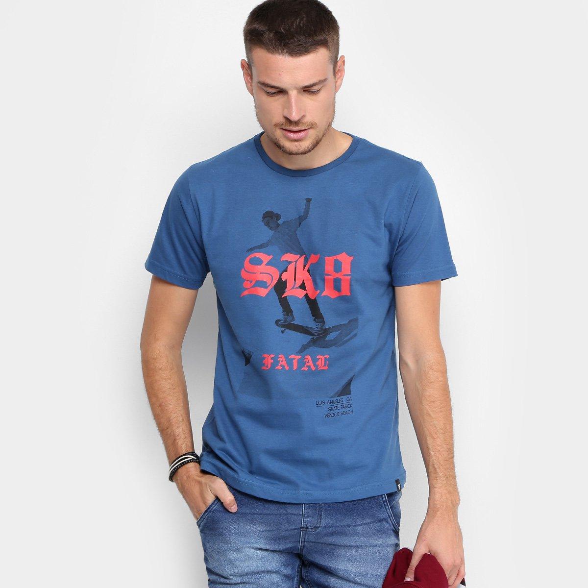e5d4a9c8b1 Camiseta Fatal Estampada Masculina - Azul - Compre Agora