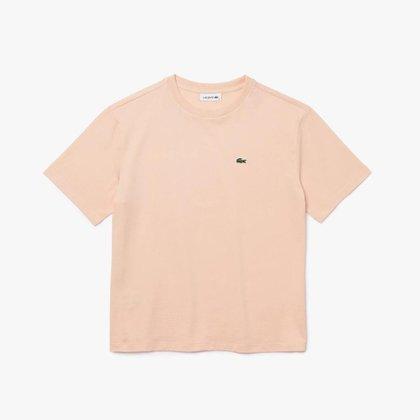 Camiseta feminina em algodão premium com decote careca