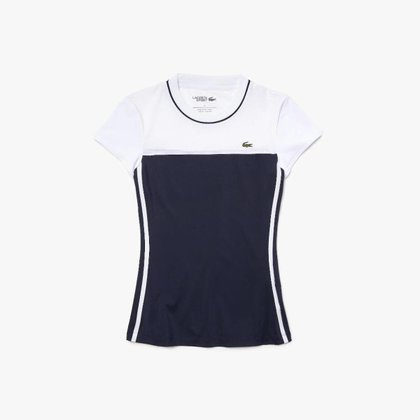 Camiseta feminina Lacoste SPORT Tennis em dois materiais com stretch