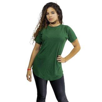 Camiseta Feminina Long Line Blusa Blusinha
