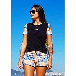 Camiseta Feminina Manga Curta Aquarela Beach Tennis