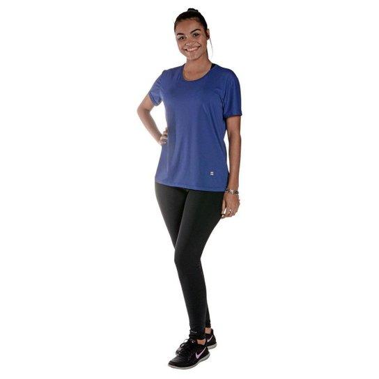 Camiseta Feminina Manga Curta UV 50+ New Trip Azul Bic - Azul Royal