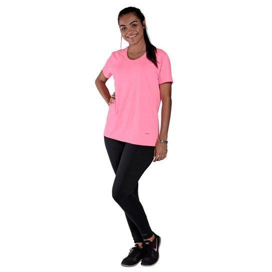 Camiseta Feminina Manga Curta UV 50+ New Trip Rosa Fluorescente - Rosa Claro+Pink