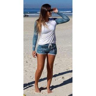 Camiseta Feminina Manga Longa Alga Marinha  Proteção UV 50+ Beach Tennis BT Extreme