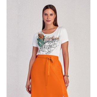 Camiseta Feminina Miravest Estampa Frontal Off  White PP