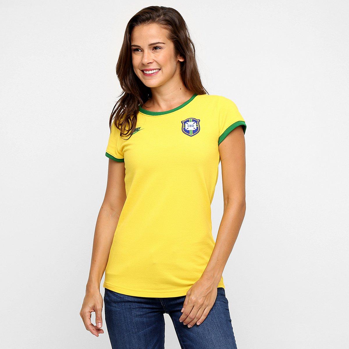4b074af6fd169 Camiseta Feminina Nike Seleção Brasil Covert Retrô 2014 - Compre Agora