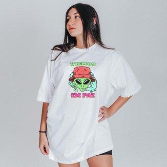 Camiseta Feminina Oversized Boutique Judith Viemos Em Paz