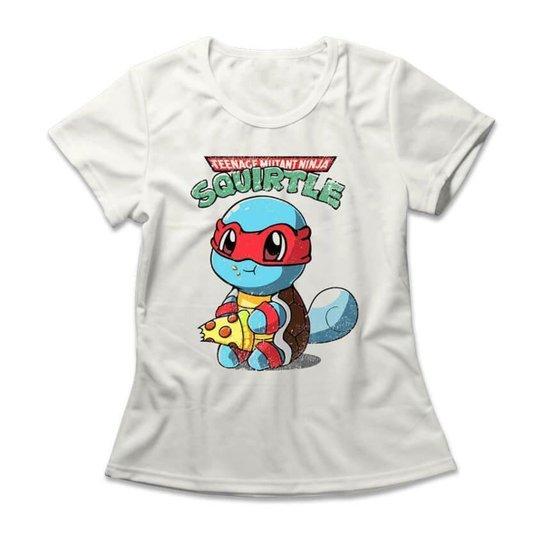 Camiseta Feminina Squirtle Ninja - Off White