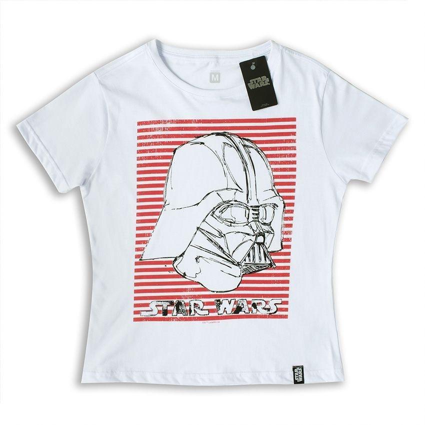 Camiseta Vader Feminina Branco Vader Stripes Wars Wars Camiseta Star Stripes Star Feminina rqrBwg