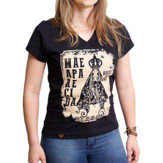 Camiseta Feminina Stouro Nossa Senhora -Preta