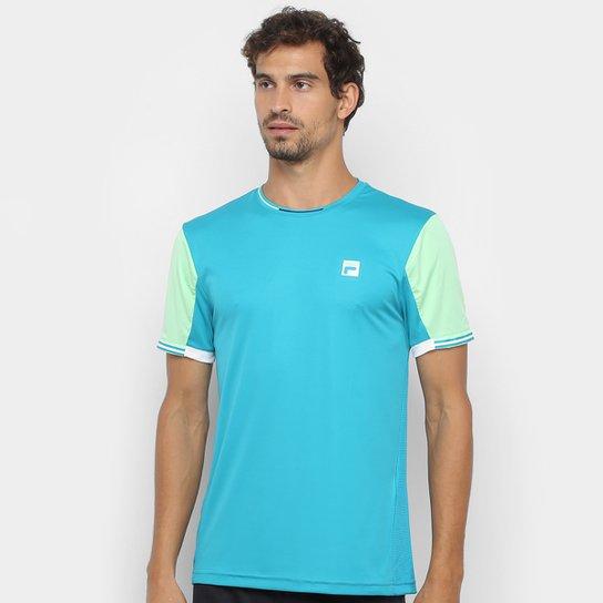 Camiseta Fila Fine Striped Masculina - Azul Petróleo+Verde