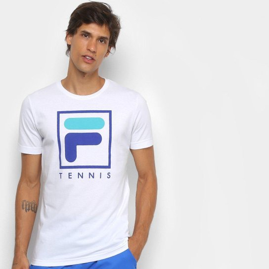 Camiseta Fila Soft Urban Masculina - Branco+Azul Royal