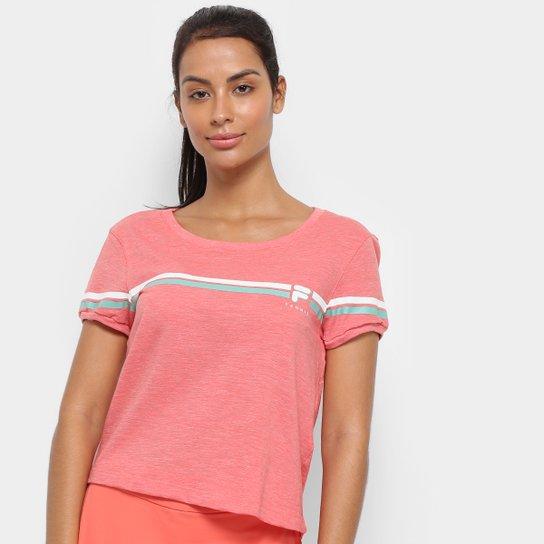 Camiseta Fila Stripe Feminina - Salmão+Branco