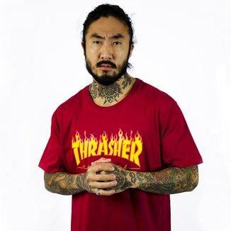 Camiseta Flame Logo - Bordo - Thrasher