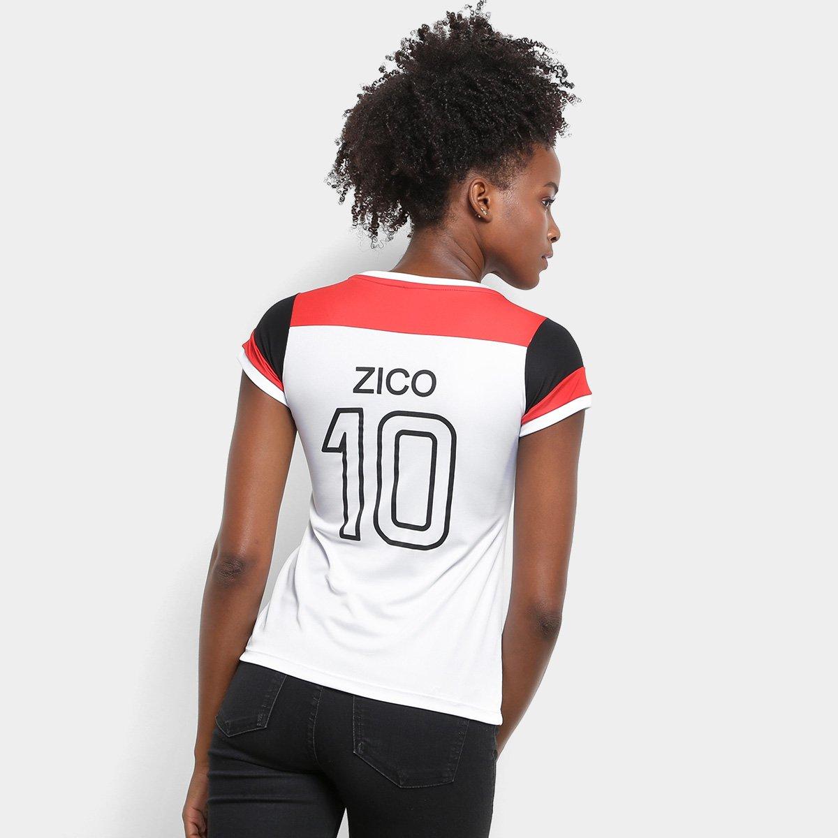 106eeeb010 Camiseta Flamengo Zico nº 81 Retrô Feminina - Branco e Vermelho ...