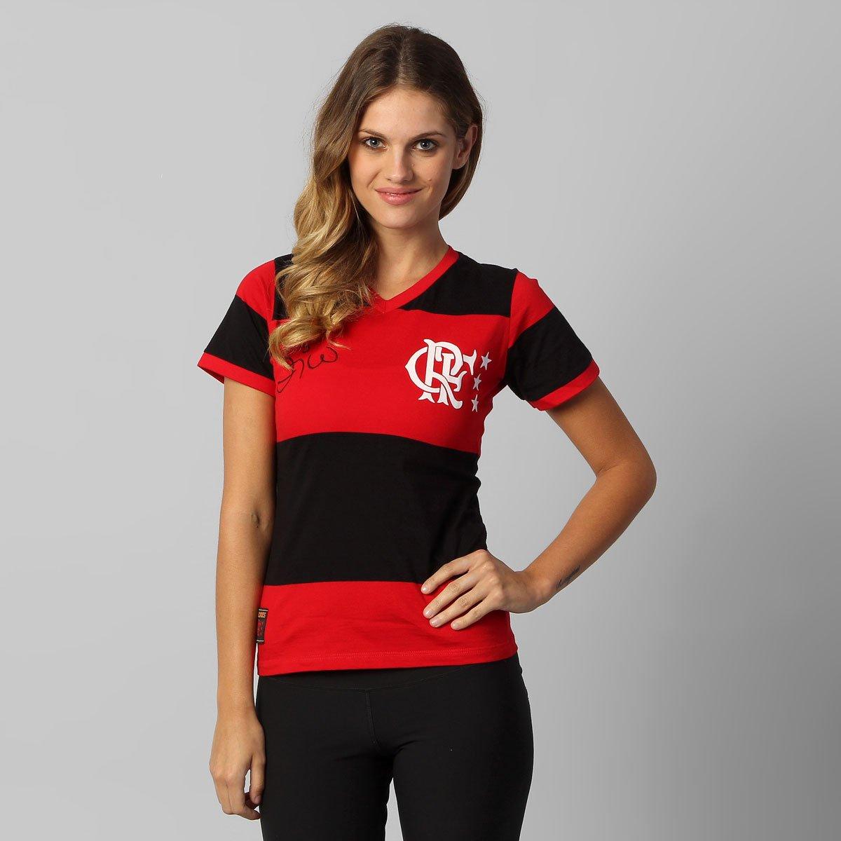 119675026142f Camiseta Flamengo Zico Retrô Feminina - Preto e Vermelho - Compre Agora