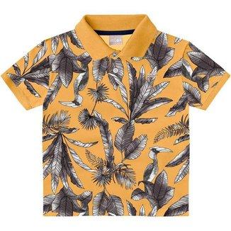 Camiseta Gola Polo Milon Bebe Masculina 1-2-3 Amarelo Folhagens